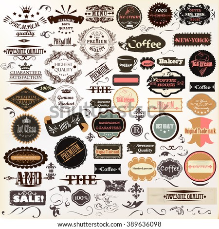 Collection or mega set of vintage vector labels best and premium quality - stock vector