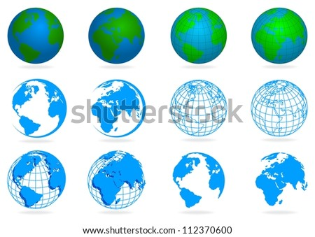 collection planet isolated on white background with shadow - stock vector