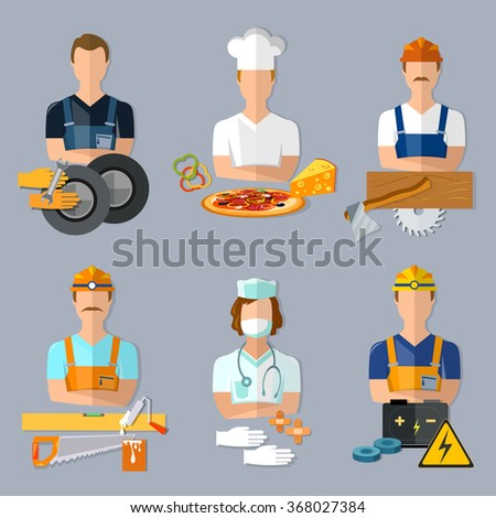Collection professions set mechanic cook carpenter builder doctor electrician - stock vector