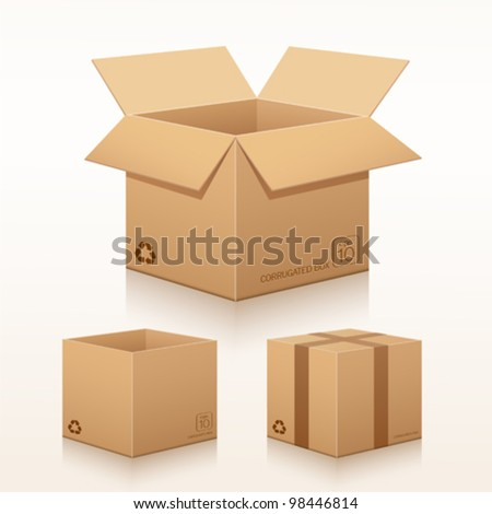 Collection recycle brown box packaging. vector illustration - stock vector