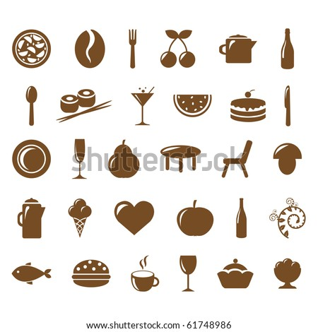 Collection Restaurant Icons, Vector Illustration - stock vector