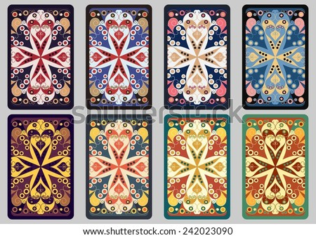 Collection retro cards. Ethnic backgrounds. Card of invitation. Vintage design elements - stock vector