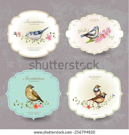 collection retro label of cute bird. watercolor painting - stock vector