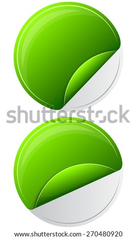 Collection round sticker with curled up edge - stock vector
