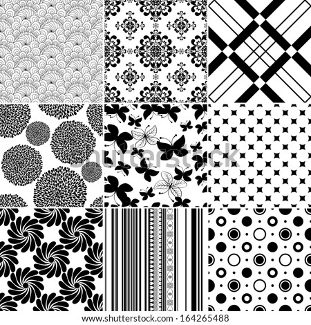 Collection seamless vintage monochrome patterns (vector) - stock vector