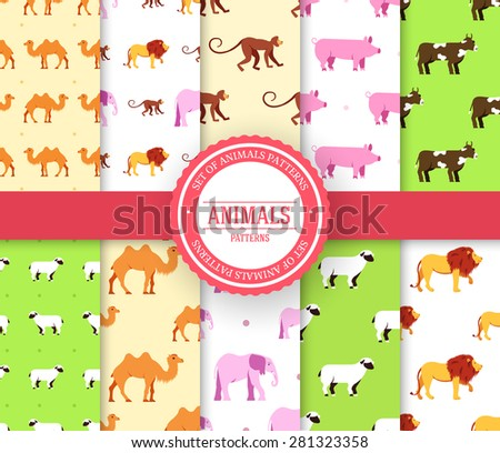 collection set of animal seamless pattern. Lion, monkey, monkey, camel, elephant, cow, pig, sheep with label logo concept. Vector illustration design with ottoman motif traditional background  - stock vector