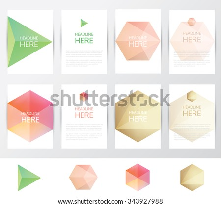 Collection set of brochure and letterhead template mockups with soft crystal facet gems in polygonal shapes. Triangular and hexagonal geometric patterns and logo elements - stock vector