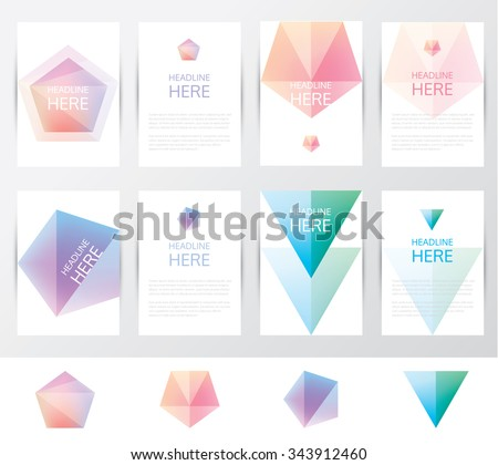Collection set of brochure and letterhead template mockups with soft mesh crystal facets in geometric polygonal designs. Pentagonal and triangular shapes in soft gradient hues - stock vector