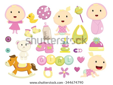 collection set of cute baby girl and toys items