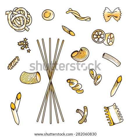 Collection set of different types of Italian pasta isolated on white background: penne, farfalle, trofie, rigatoni,  noodles, linguini, conchiglie, macaroni. Vector image, isolated, top view. - stock vector