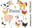 collection set of farm animals isolated on a white background. vector illustration. - stock vector