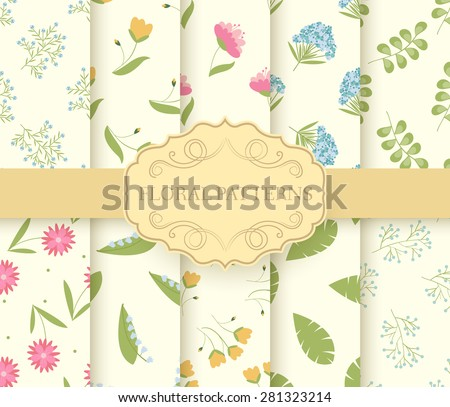collection set of floral seamless pattern. leaves, Spring, flowers, summer, Autumn with label logo concept. Vector abstract template for greeting card or invitation design illustration elements - stock vector