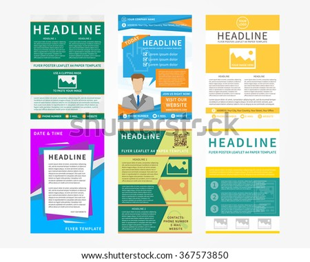 Collection (set) of flyer, leaflets, poster vector templates in A4 size. Colorful concept graphic design.