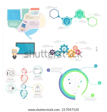 Collection: set of Infographic elements for business slide presentations, websites and mobile templates - stock vector