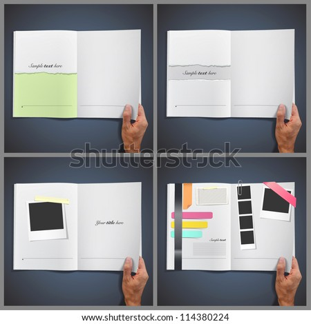 Collection set of opens whites books with photos, texts, papers, etc. Vector design. - stock vector