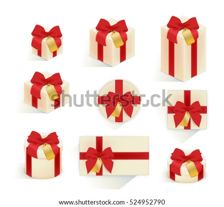 Collection set of realistic gift box with red ribbon and gold label, 3d present box with red bow for Birthday Celebration, Christmas, Valentines, Party, Anniversary, wedding - Vector file EPS10