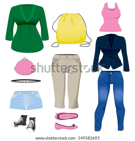 Collection set of various fashion clothing and accessories for women