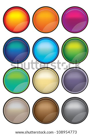 Collection set of 12 vector illustration button that is ideal with web and graphic design.
