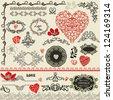 Collection, set of vintage detailed floral Valentines design elements - stock vector