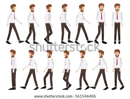 Collection Set Walking Businessman Sprite Frame Stock Vector ...