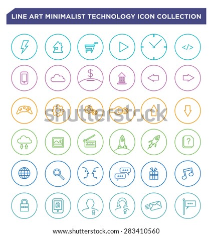 Collection sets of Minimalistic Line Art Circular Style Vectors for Web buttons, Mobile UI or Software User Interfaces in computers or touchscreen devices. Editable Clip Art Illustration. - stock vector