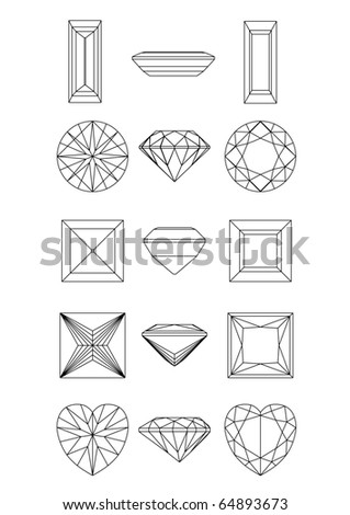 Collection  shapes of diamond against white background. Wireframe - stock vector