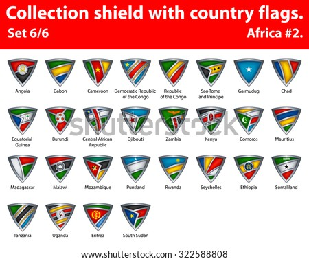 Collection shield with country flags. Part 6 of 6. Africa. - stock vector