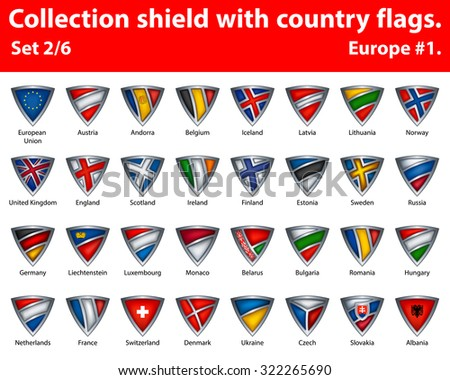 Collection shield with country flags. Part 2 of 6. Europe. - stock vector