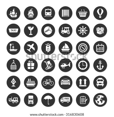 Collection shipping, transportation and packaging icons - stock vector