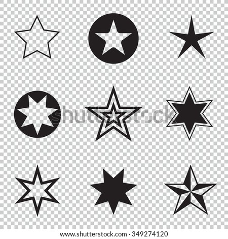 Collection simple rounded star rating. With outlines makes the stars. isolated. Easy to use. - stock vector
