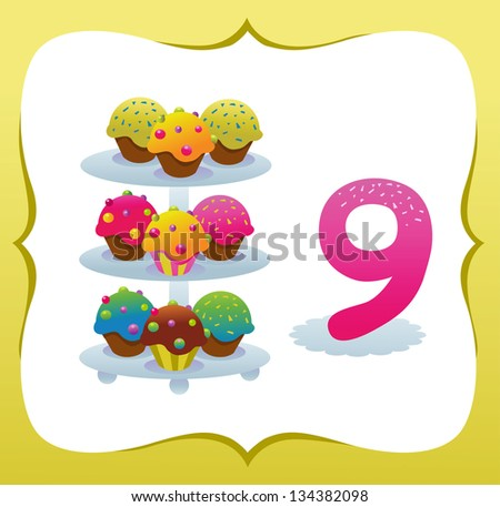 Collection Sweet Numbers for Kids: 9 - stock vector
