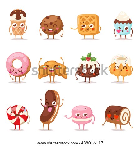 Collection sweets emotion lovely dessert candy and dessert doodle icon, cute cake, adorable candy, sweet ice cream, jelly bean. Sweet emotion girly cookie. Confectionery caramel sweet emotion.