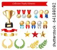 Collection Trophy Elements, Isolated On White Background, Vector Illustration - stock photo
