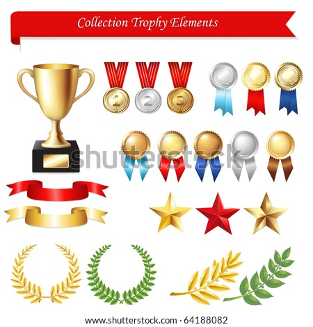 Collection Trophy Elements, Isolated On White Background, Vector Illustration - stock vector