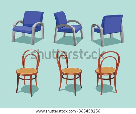 Collection Types Seating Office Chair And Cafe Vintage Wooden Variable Views Simple