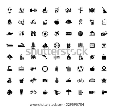 Collection vacation, travel, summer, holiday, celebration and beach icons - stock vector