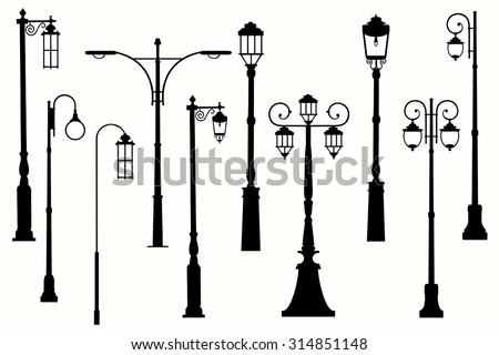 Collection vector city street lanterns.