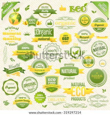 Collection Vector Organic Food, Eco, Bio Labels and Elements. Logo elements for Food and Drink. Restaurants and Organic Products Vector Illustration - stock vector
