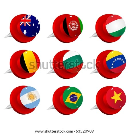 Collection vector pushpin with the flags - stock vector