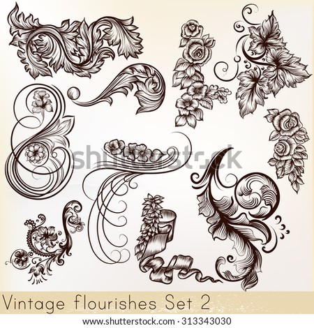Collection vector vintage design element and flourishes - stock vector