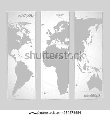 Collection vertical banner design. World Map Molecule and Communication background. Vector illustration. - stock vector