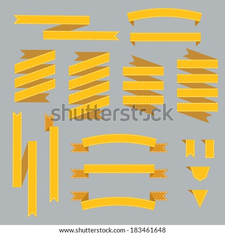 Collection vivid ribbons. Vector illustration. - stock vector