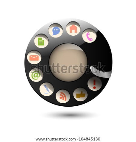 Collection web icons in disc dials of old retro phone. Creative vector - stock vector