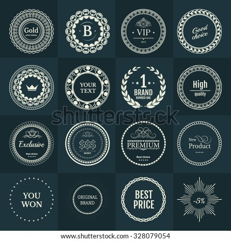 Collection white labels for promo seals on green blue background. Vintage sticker with text. Can be use for design certificate. Quality stickers round. Vector retro objects - stock vector