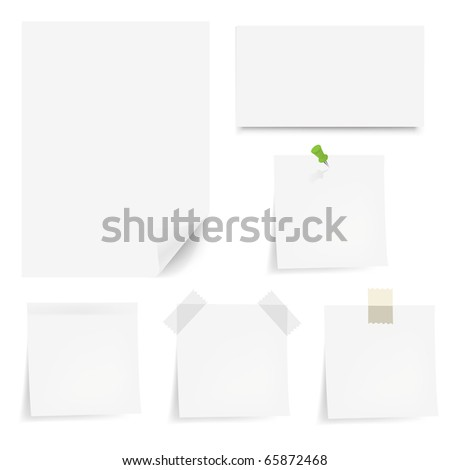 Collection White Papers With Adhesive Tapes And Pushpin, Isolated On White Background, Vector Illustration - stock vector
