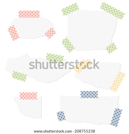Collection - white scraps of paper with tape - stock vector
