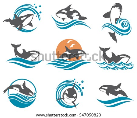 Collection with abstract symbols of whale and sea wave. Vector illustration