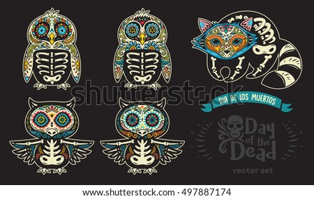 Collection with sugar skull penguins, owls and raccoon in mexican style for holiday the Day of the Dead, Dia de Muertos. Vector illustration