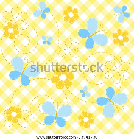 Collection yellow baby seamless. Vector. - stock vector