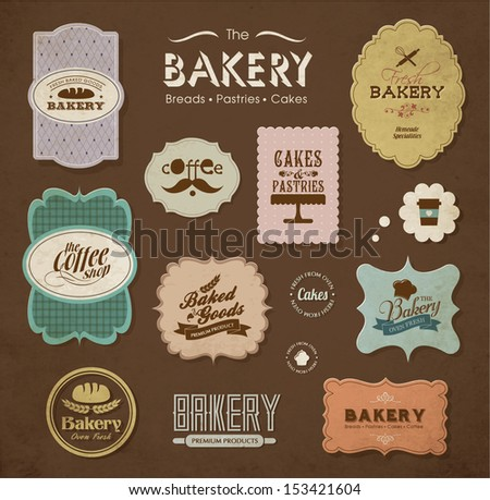 Collections of bakery design elements - stock vector